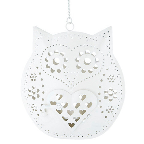 Sass & Belle - Cream hanging owl tea light holder
