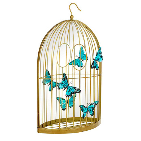 Butterfly Home by Matthew Williamson - Gold birdcage and butterflies mirror