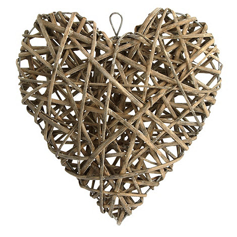 Debenhams - Light grey decorative willow heart