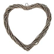 Grey twisted willow heart
