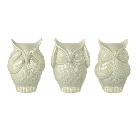 Parlane - Ceramic set of three +See no evil+ owls