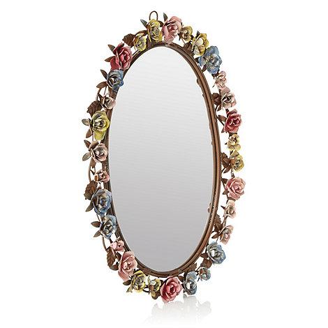 Gisela Graham - Brown metal floral mirror