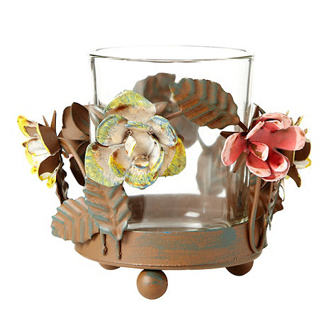 Gisela Graham - Brown metal floral tea light holder