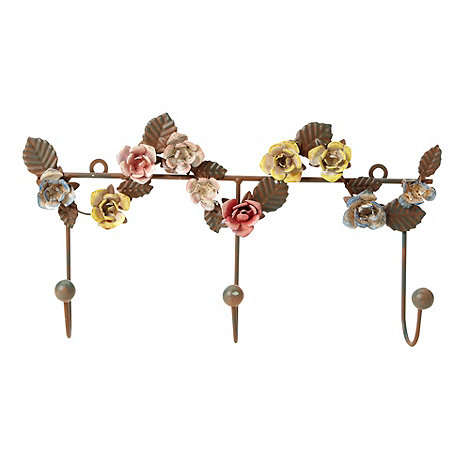 Gisela Graham - Brown metal floral wall hook
