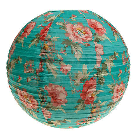 Sass & Belle - Turquoise floral printed fabric lamp shade
