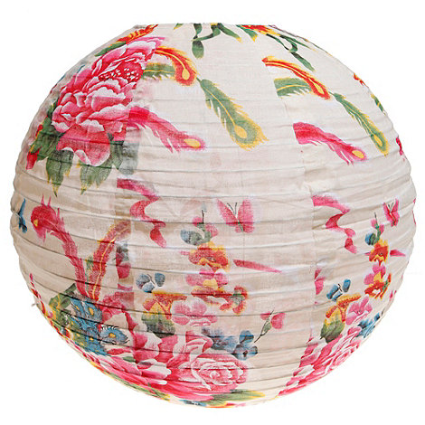 Sass & Belle - White peacock printed fabric lamp shade