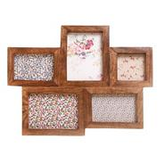 Dark brown wooden five piece photo frame