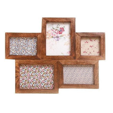 Sass & Belle - Dark brown wooden five piece photo frame