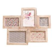 Light brown wooden five piece photo frame