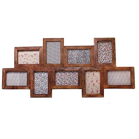 Sass & Belle - Dark brown wooden nine piece photo frame