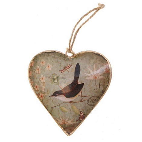 Sass & Belle - Natural bird hanging heart