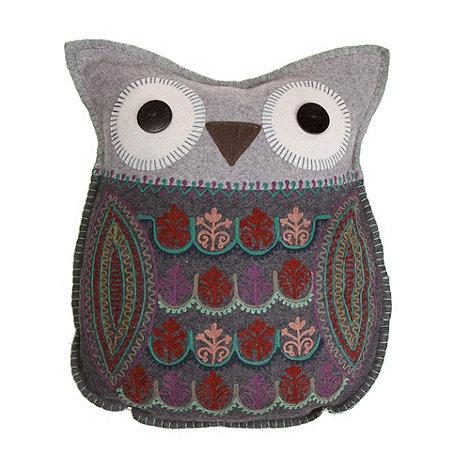 Sass & Belle - Grey felt owl cushion