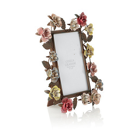 Gisela Graham - Brown small metal floral photo frame