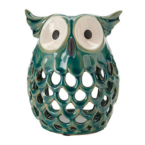Parlane - Turquoise ceramic owl tea light holder