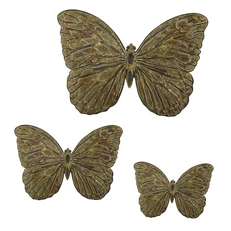 Parlane - Set of three resin wall butterflies