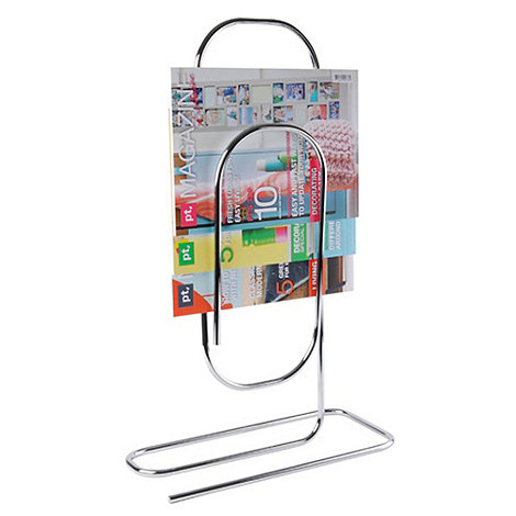 Present Time - Chrome paper clip-shaped magazine stand