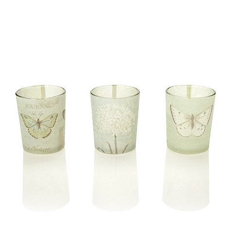 Parlane - Set of three glass butterfly patterned tea light holders