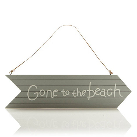 Gisela Graham - Grey +Gone to the Beach+ hanging sign