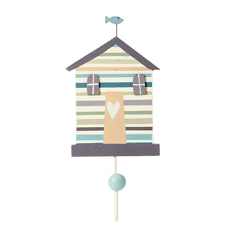 Gisela Graham - Cream beach hut shaped wall hook