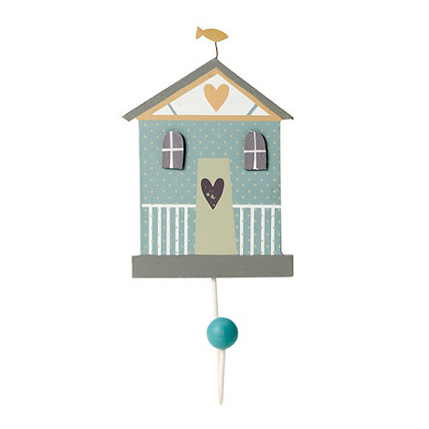 Gisela Graham - Blue spotted beach hut shaped wall hook