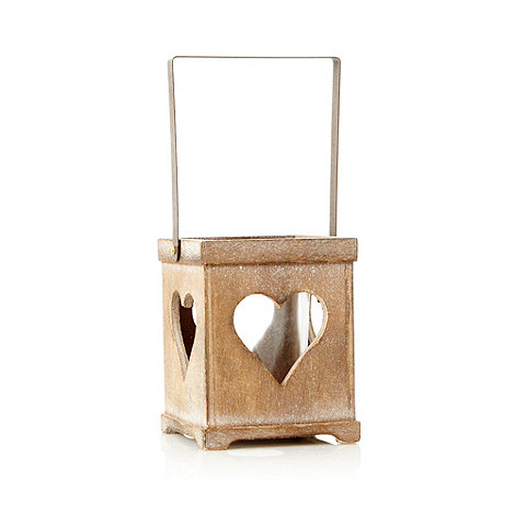 Parlane - Brown wooden heart patterned tea light holder