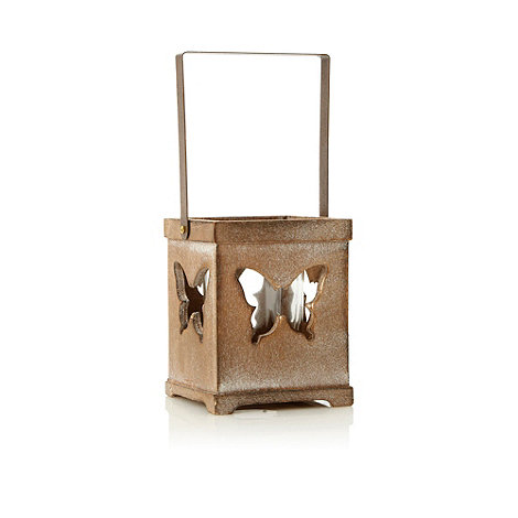 Parlane - Brown wooden butterfly patterned tea light holder