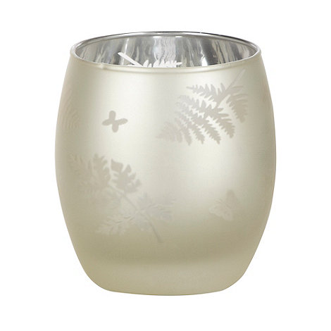 Parlane - Cream leaf patterned tea light holder