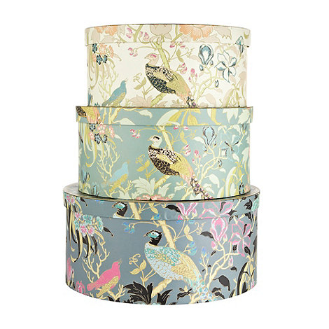 Butterfly Home by Matthew Williamson - Set of three turquoise peacock printed hat boxes