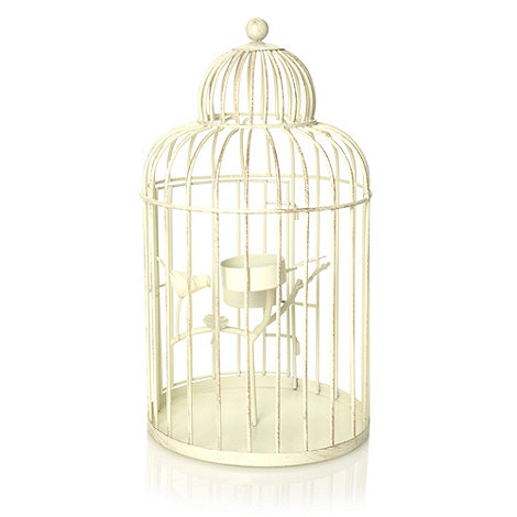 Butterfly Home by Matthew Williamson - Cream wire bird cage tea light holder