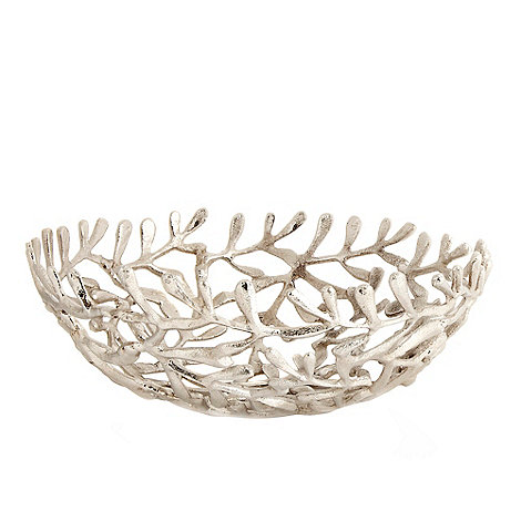 RJR.John Rocha - Silver metal leaf bowl