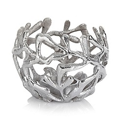 RJR.John Rocha - Silver leaf shaped tea light candle holder
