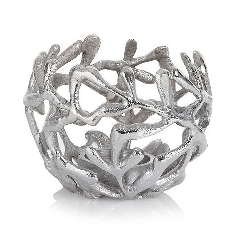 RJR.John Rocha - Silver leaf tealight holder