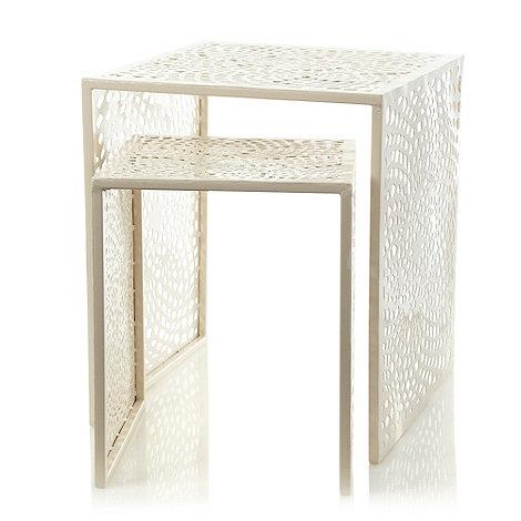 RJR.John Rocha - Nest of two cream crocheted patterned metal tables