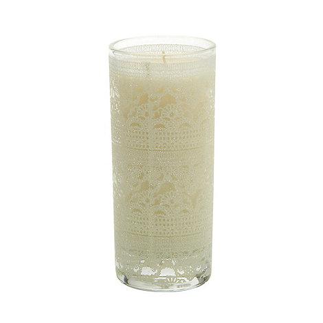 Star by Julien Macdonald - Designer white glitter lace votive