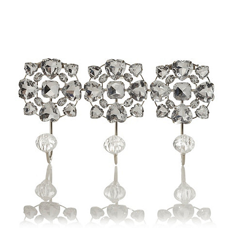 Star by Julien Macdonald - Designer silver diamante triple hook