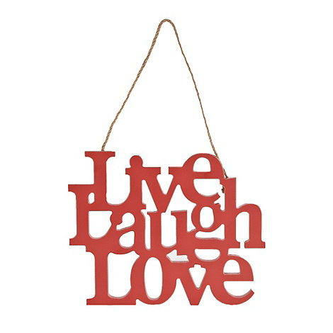 Debenhams - Red wooden +LIVE LAUGH LOVE+ sign