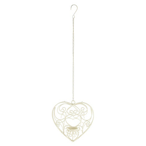 Debenhams - Cream hanging heart candle holder