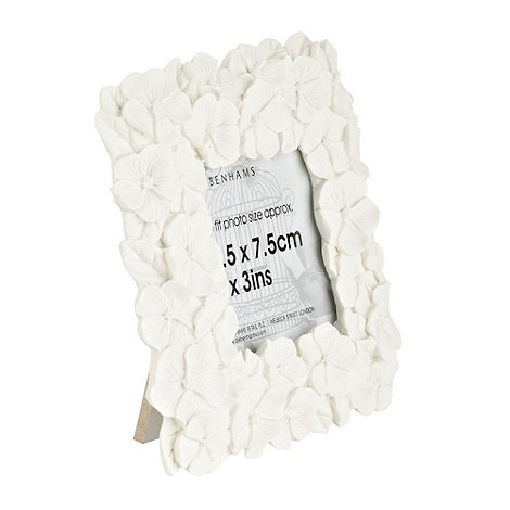 Debenhams - White floral 3x3 inch photo frame