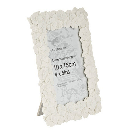 Debenhams - White floral 4x6 inch photo frame
