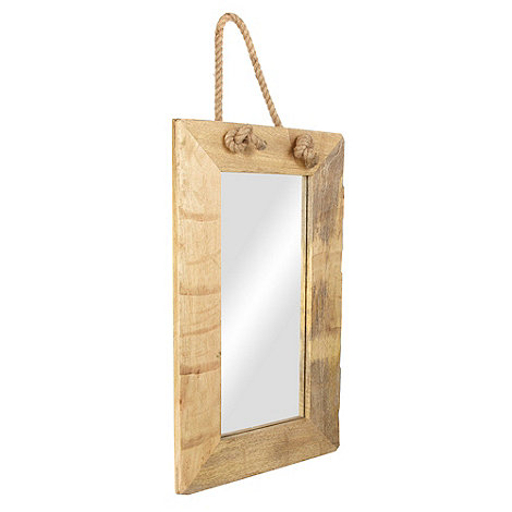 Debenhams - Oak mirror with rope handle