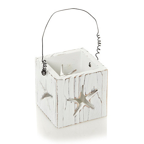 Debenhams - White cut out star tea light holder