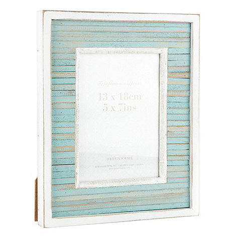 Debenhams - Blue 13 x 18cm wooden nautical photo frame