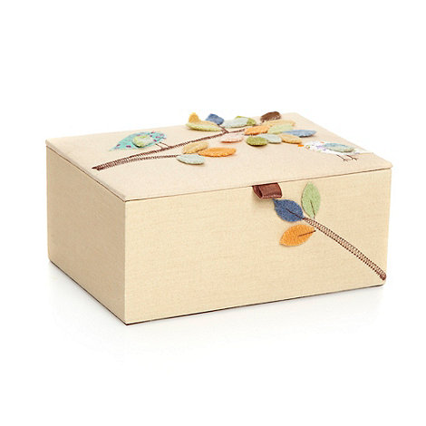 Home Collection - Beige applique leaf and bird jewellery box