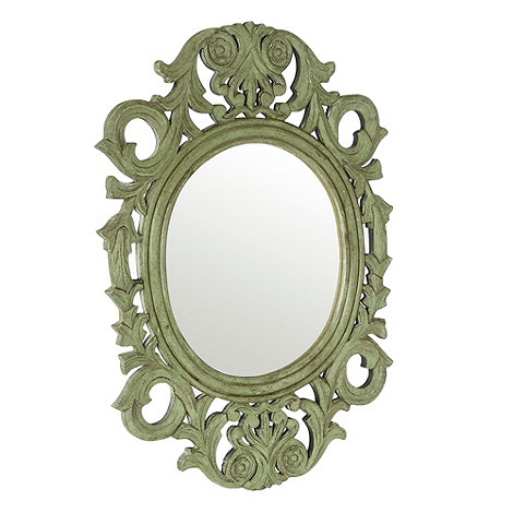 Debenhams - Green ornate oval mirror