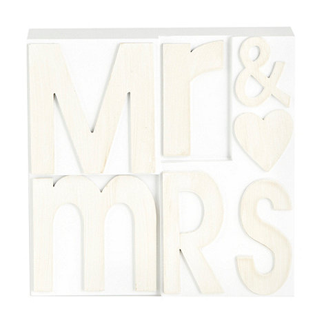 Debenhams - Wooden +Mr and Mrs+ ornament