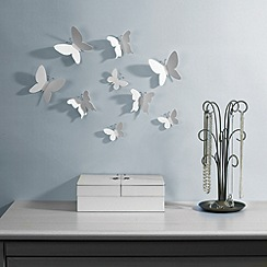 Umbra - Set of nine white mariposa butterfly wall decorations