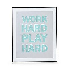 Debenhams - Aqua 'Work hard play hard' wall art
