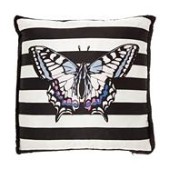 Designer black striped butterfly cushion