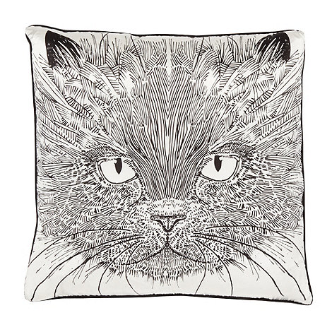 Vicki Elizabeth/EDITION - Designer black cat silk blend cushion