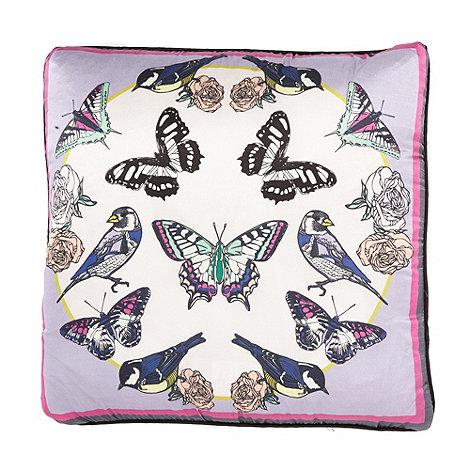 Vicki Elizabeth/EDITION - Designer lilac bird and butterfly print cushion